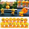 Smiling face Spring Shaking Head Toy Smile Emoji Car Ornament Smiley Doll Cute Cartoon Funny Accessories Interior Dashboard Desk Bobblehead