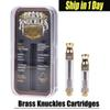 Brass Knuckles Cartridges Pyrex Glass 0.5ml 1.0ml Gold BUD Touch Thick Oil Atomizer Vape Pen Tank Drip tip With Logo AT186