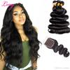 Gaga Queen Brazilian Body Wave 3 Extension Bundles With Lace Closure UNPROCESSED Malaysian Indian Peruvian Virgin Human Hair Wefts Dyeable