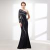 M6617 Luxury Black Evening Dresses Mermaid One Sleeve Prom Dress Floor Length Major Beading Long Sleeve Formal Dresses