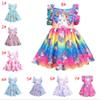Rainbow Unicorn Dresses Children Backless Flying Sleeve Princess Dress Summer Cartoon Unicorns Stars Printed Dress Kids Boutique Cloth B11