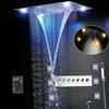Most Complete Shower Set 6 Functions Luxurious Bath System Large Waterfall Dual Rain Misty Concealed Ceiling Showerhead Massage Thermostatic