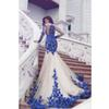 2019 New Arrival Long Sleeve Royal Blue Lace Evening Dresses Mermaid Tulle Prom Gowns 2019 Newest