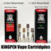 King Pen Vape Cartridge Packaging Kingpen Cart 1ml Ceramic Empty Vape Pen Cartridges Dab Pen Wax Vaporizer E Cigarette 510 Thread Battery