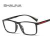 SHAUNA TR90 Ultralight Rectangle Eyeglasses Frame Men Resin Lens Optical Glasses
