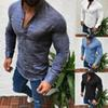 2019 Sexy Men Long Sleeves V Neck Blouse Summer Fashion Casual Cool Clothing Slim Fit Tees Tops Male Breathable Linen Shirts n2019