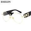 RSSELDN Cool Oversized Clear Lens Glasses Frame Women Brand Designer Male Spectacle Frames For Men Gold Eyewear 2019 Vintage