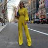 New 2019 Women Autumn Elegant Fashion Slim Fit Solid Skinny Casual Overalls Office Look Work Lantern Sleeve Mock Neck Jumpsuits