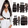 Kiss Hair Brazilian Straight Hair 3 4 Bundles with 4x4 2x6 Lace Closure Natural Color Body Wave Human Hair Bundles with Closure