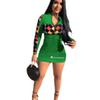Women Champions Letter Print Zipper Dress Long Sleeve Patchwork Bodycon Dresses Spring Summer Mid Length Brand Skirt Club wearB3044