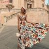 Bohemian beach dress Sexy sleeveless ruffled dress Two-piece suit fashion print sexy tube top sling+half length set