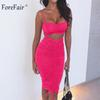 Forefair Summer Sexy Two Piece Party Night Club Dresses Women Ruched Spaghetti Strap Sheath Backless Pencil Bodycon Dress