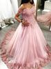 Pink Quinceanera Dresses 2019 Off The Shoulder Ball Gown With Appliqued sweet 16 ball gowns Evening Party Gowns