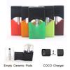Unassembled Empty Vape Cartridge Ceramic COCO Pods For JUUL Pods vape case  Starts Kit 0.4ml 0.7ml horizontal or vertical coil Charger