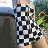 Bodysuits New Plaid Women Playsuits Sexy Backless Strapless Zipper Fly Short Female Workout Street Plaid Playsuits