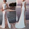 Summer White Bohemian Beach Mermaid Wedding Dresses 2019 Lace Satin Jewel Lapel Bridal Gowns Sweep Train Length Mermaid Dress