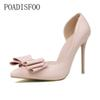 Designer Dress Shoes POADISFOO 2019 women pumps Sweet Bow High Heels Thin high-heeled Shallow Pointed Pointed Side Hollow .ZWM-3168-2