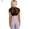 2019 Black Sexy Lace Bodysuit Woman Short Sleeve Top Lady Body Summer Clothes For Female Bodycon Sheer Deep V Bodysuits