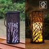 WRalwaysLX Decorative Woods Lanterns with Timer Flameless Candle Light Indoor Outdoor with Hanging, Engraved Steel with Bronze Undertones