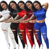 Champion Brand Women Tracksuits Ripped Holes Crop Top + Pants Leggings 2PCS Set summer Outfits Short Sets T-shirt Sportswear