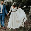 Plus Size Long Sleeves A-Line Two Pieces Beach Country Wedding Dresses 2019 Chiffon Ruffles Lace Top Boho Custom Made Bohemian Bridal Gown