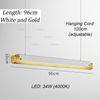 96cm, blanco + oro