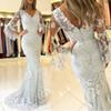 V Neck Generous Long Sleeves Prom Dresses 2019 Buttons Back Lace Applique Mermaid Tulle Party Evening Gowns