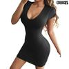 Women's Sexy Scoop Neck Bodycon Cap Sleeve Solid Mini Club Dress Drop Shipping