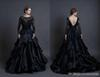 Black Wedding Dress With Long Sleeves Backless Sareh Nouri Winter 2019 Vintage Lace Bridal Mona Lisa Ball Gown Wedding Dresses Tiers