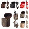 For Airpods Case Luxury PU Leather Protective Cover Hook Clasp Keychain Anti Lost Fashion Brand Earphone Cases Protector