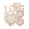 Wooden Photo Frame DIY Love Shape Durable Mini Family Photo Frame Home Decor Accessories Picture Display Holder