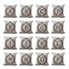 A-Z 26 English Letter Initials Pillow Case Cushion Cover Linen Cotton Throw Pillowcases Sofa Car Pillowcover Free DHL