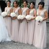 2019 Sexy Long Bridesmaid Dresses Deep V Neck Empire Floor Length Tulle Beach Boho Wedding Guest Dresses