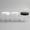 30 x 200ML Big Clear PET Cream Jars with black white plastic cap 200g Frosted Cosmetic Makeup Sample Lotion Container Bottle