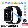 Smartwatch Curved Screen X6 Smart watch bracelet Phone with SIM TF Card Slot with Camera for Samsung android smartwatch