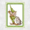 Green Elf and Big Mouse Patterns Cross Stitch Kits 11CT Printed Fabric 14CT Canvas DMC Counted Chinese Cross-stitch Embroidery Thread Sets