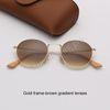 lentes de gradiente de marco marrón oro