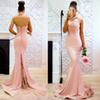Halter Mermaid Prom Dress 2019 Sexy Open Back Evening Dress With Lace Appliques Girls Formal Party Gowns In Stock