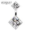 QCOOLJLY Vintage Blue White Black Color Crystal Geometric Belly Button Rings For Women Umbilical Nails Navel Piercing Jewelry