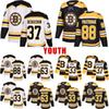 New Style Youth 33 Chara 37 Bergeron Boston 63 Marchand Bruins 88 Pastrnak White Black Stitched Jersey
