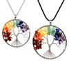 12Pcs Set Tree of Life Necklace 7 Chakra Stone Beads Natural Amethyst Sterling-silver-jewelry Chain Choker Pendant Necklaces for Women Gift