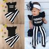 Baby kids girls clothes Summer Girls T-shirt + Trousers 2 Piece Sets kids designer clothes Ruffle letter T-Shirt striped Trousers JY119