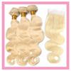 Indian Virgin Hair Blonde Human Hair With 4X4 Lace Closure Body Wave 3 Bundles With Four By Four Lace Closure 613# Color Body Wave
