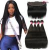 Mink Brazilian Straight Hair Bundles With 13x4 Lace Frontal With Hair Bundles Human Hair Weaves With Ear to Ear Lace Frontal Closure