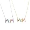 2019 mother day gift jewelry 925 sterling silver fashion colorful cz paved mom letter necklace for mama