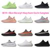 V2 Kanye West 2019 GID Glow in Dark Clay True Form Hyperspace Mens Reflective Running Shoes Women Sport Designer Sneakers