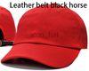 أحمر مع حزام جلد الحصان الأسود