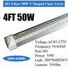 4FT 50W 2-صف واضحة غطاء V على شكل
