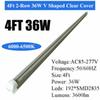 4Ft 36W V Integrated Tube Clear Cover