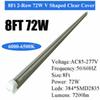 8Ft 72W V Integrated Tube Clear Cover